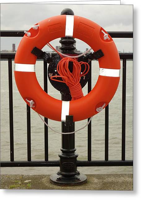 Life Belt On Quayside Greeting Card by Cordelia Molloy