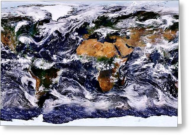 Planet Map Greeting Cards - Life Greeting Card by Benjamin Yeager