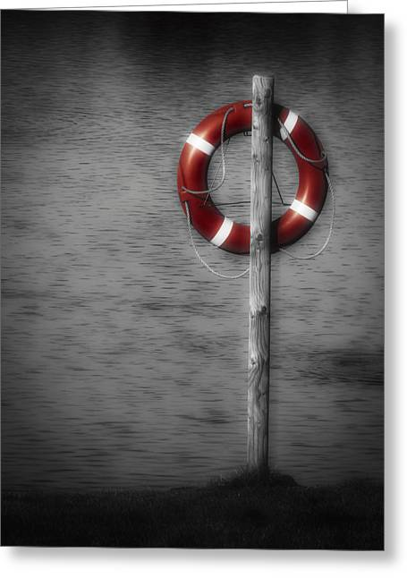 Foggy. Mist Greeting Cards - Life Buoy Greeting Card by Wim Lanclus