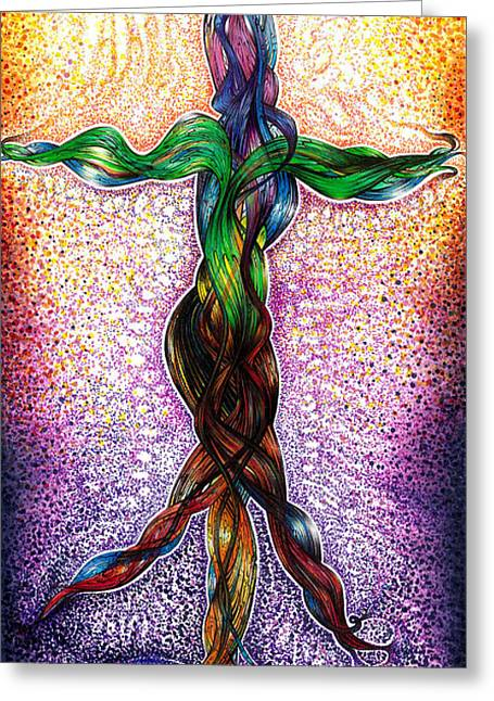 Merged Mixed Media Greeting Cards - Life By Feel Greeting Card by Adam Boshart