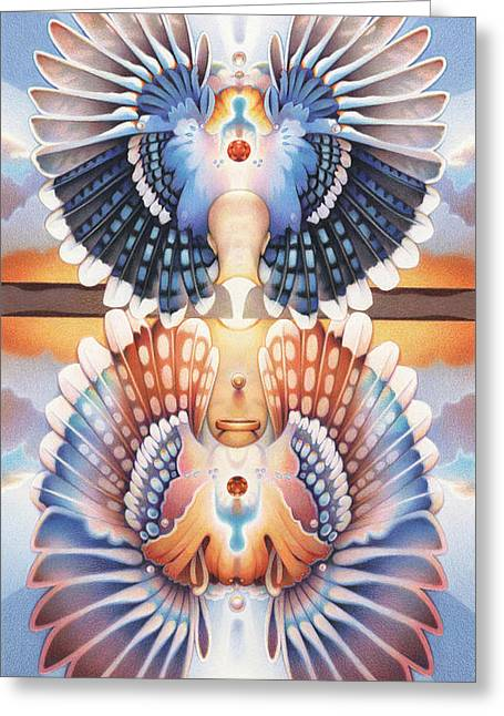 Powwow Greeting Cards - Life Circle Regalia Greeting Card by Amy S Turner