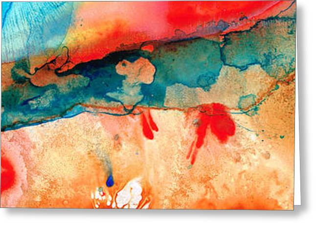 Life Eternal Red And Green Abstract Greeting Card by Sharon Cummings