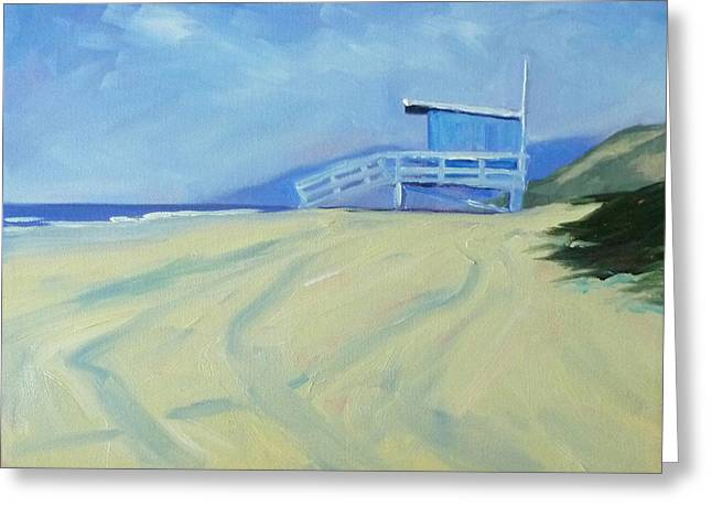 Nature Scene Paintings Greeting Cards - Life Guard Greeting Card by Nancy Merkle
