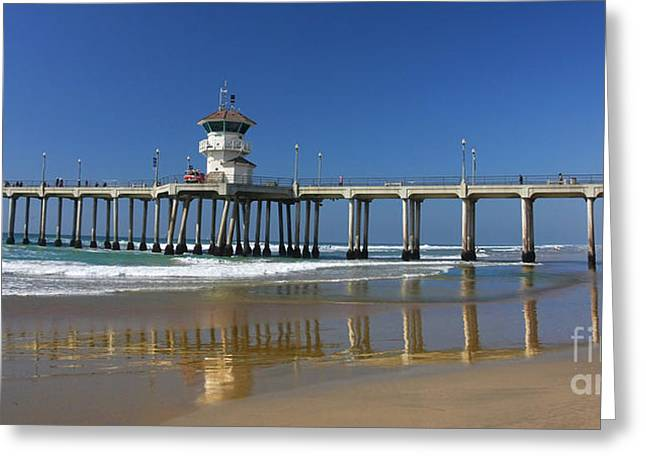 Pacific Ocean Prints Greeting Cards - Life Guard Station Reflection on Ocean Sand at Huntington Beach City Pier Fine Art Photography Print Greeting Card by Jerry Cowart