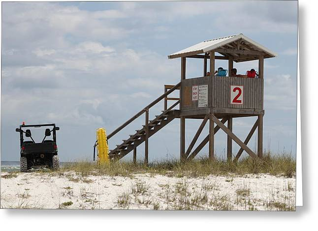 Pensacola Fishing Pier Greeting Cards - Life Guards on Duty Greeting Card by Michelle Powell