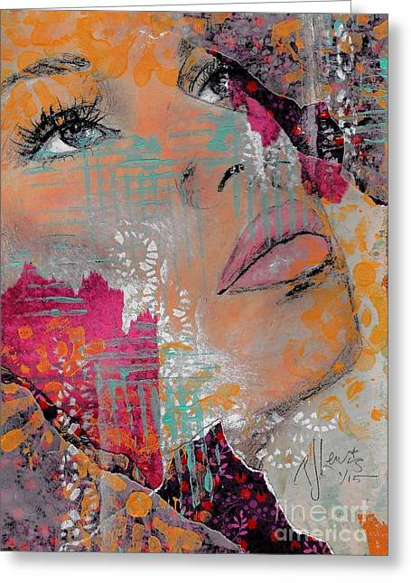 Face Of A Woman Greeting Cards - Life has layers Greeting Card by P J Lewis