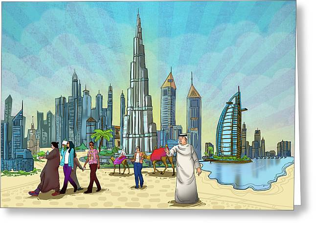 Seller Mixed Media Greeting Cards - Life in Dubai Greeting Card by Art Tantra