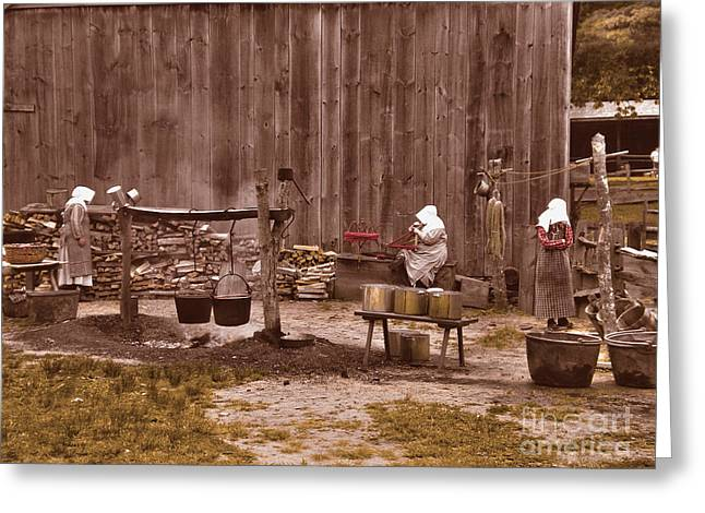 Local Food Greeting Cards - Life in the 1830s-3 Greeting Card by Claudia Mottram