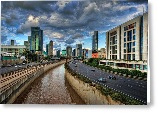 Skyline Greeting Cards - Life in the Fast Lane Greeting Card by Ronsho