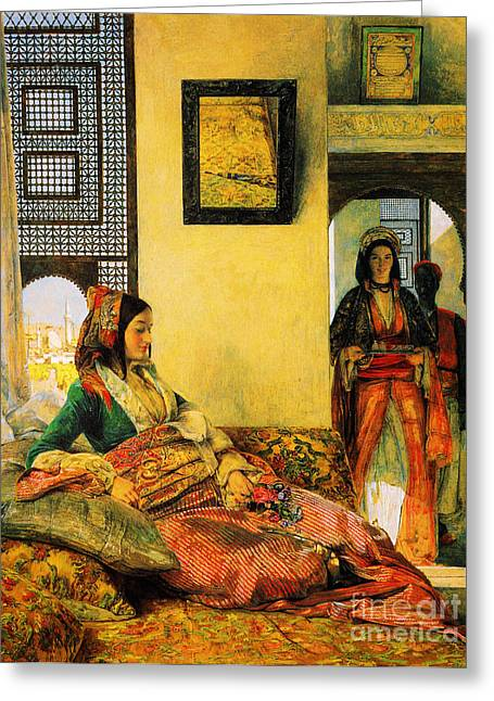 Religious ist Paintings Greeting Cards - Life in the Hareem Cairo Greeting Card by Celestial Images
