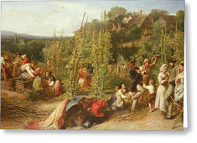 Drinking Greeting Cards - Life In The Hop Garden, 1859 Greeting Card by Phoebus Levin