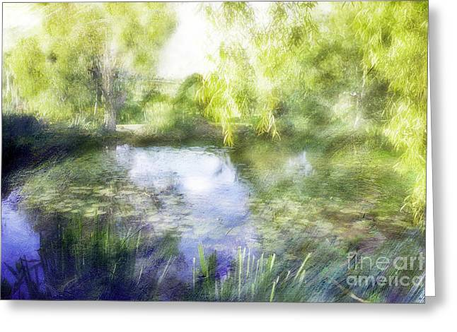 Water Lilly Greeting Cards - Life in the Pond Greeting Card by Linde Townsend
