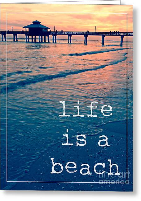 Fishing Pier Greeting Cards - Life is a Beach Sunset Pier Greeting Card by Edward Fielding
