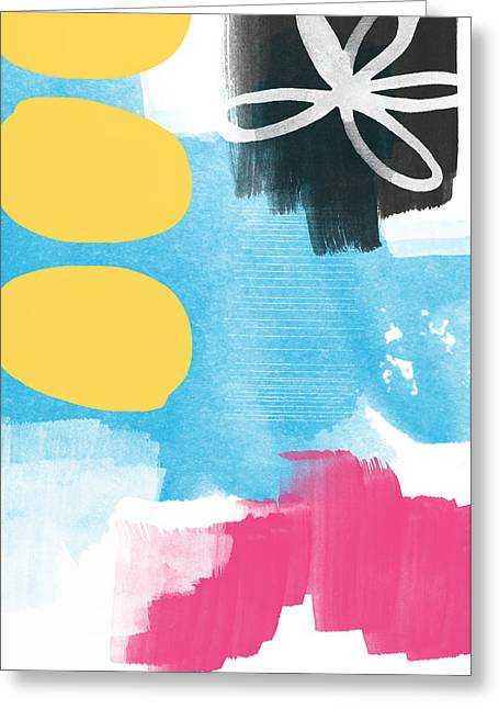 Floral Abstract Greeting Cards - Life Is A Celebration-Abstract Art Greeting Card by Linda Woods