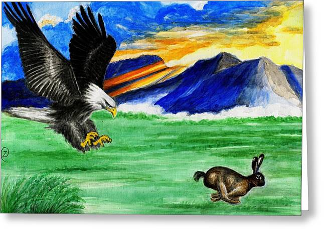 Sun Rays Paintings Greeting Cards - Life Is A Race - Eagle and Rabbit Greeting Card by Zong Yi