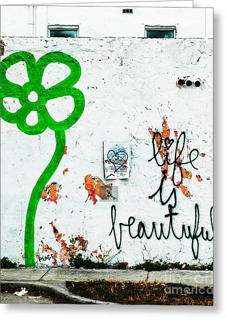 Shower Curtain Greeting Cards - Life is Beautiful Urban Graffiti Wall Greeting Card by ArtyZen Home