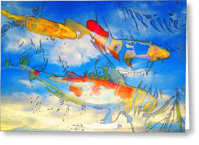 Relaxing Mixed Media Greeting Cards - Life Is But A Dream - Koi Fish Art Greeting Card by Sharon Cummings