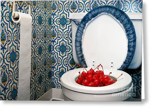 Toilet Bowl Greeting Cards - Life is Just a Toilet Bowl of Cherries  Greeting Card by Amy Cicconi