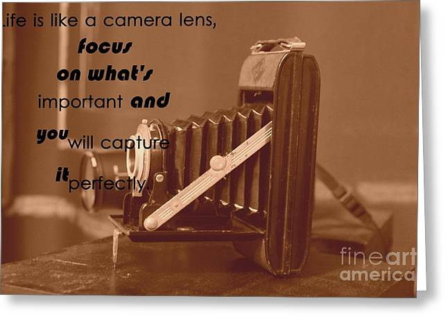 Realize Greeting Cards - Life is like a camera lens Greeting Card by Four Hands Art