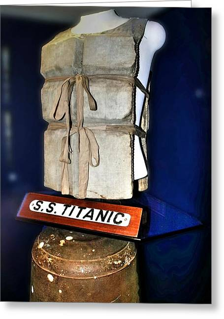 Survivor Art Greeting Cards - Life Jacket From The Titanic Greeting Card by Frank Luxford