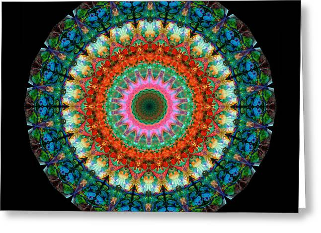 Chanting Greeting Cards - Life Joy - Mandala Art By Sharon Cummings Greeting Card by Sharon Cummings