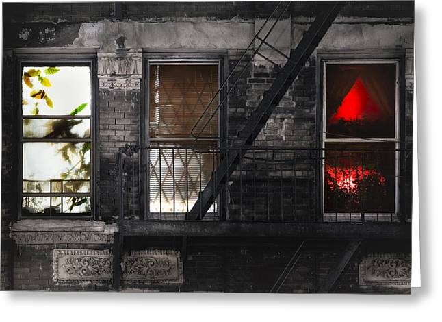 Photography Of Windows Greeting Cards - Life learning and love - Three windows and a story Greeting Card by Gary Heller