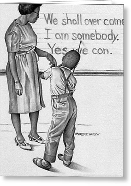 African-american Drawings Greeting Cards - Life lessons Greeting Card by Ron Watson