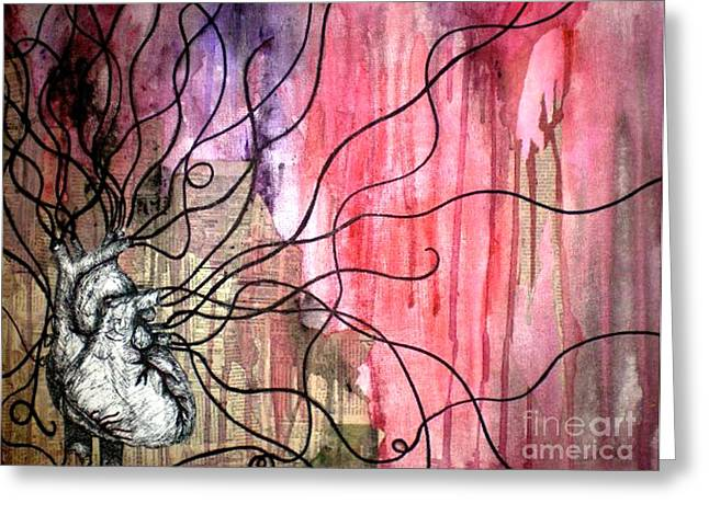 Anatomical Mixed Media Greeting Cards - Life Line Greeting Card by Simonne Mina