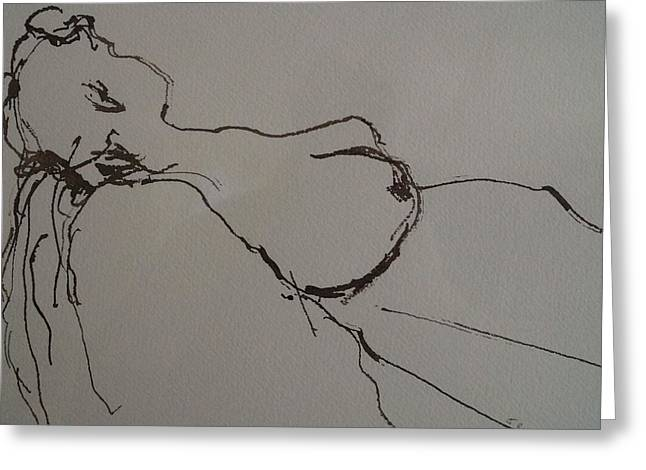 Ink Drawing Greeting Cards - Life Model Greeting Card by Jeanette Riley