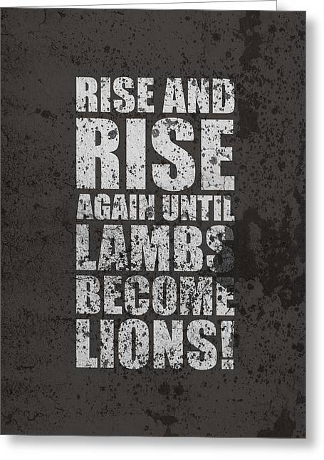 Lion Lamb Greeting Cards - Life Motivating Quotes Poster Greeting Card by Lab No 4 - The Quotography Department