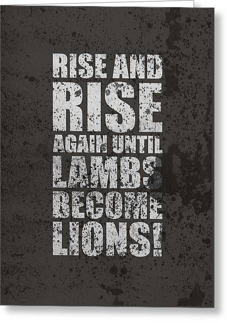 Lion And Lamb Greeting Cards - Life Motivating Quotes Poster Greeting Card by Lab No 4 - The Quotography Department