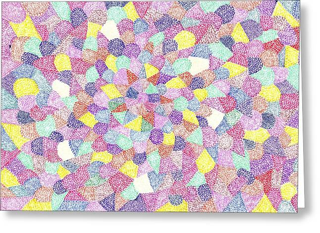 Geometric Image Drawings Greeting Cards - Life No 75 Greeting Card by J A   Art Gallery