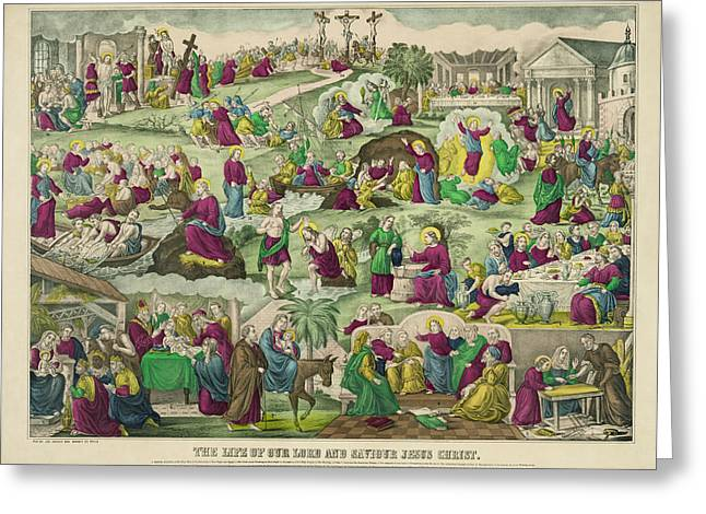 Last Supper Greeting Cards - LIFE of CHRIST c. 1880 Greeting Card by Daniel Hagerman