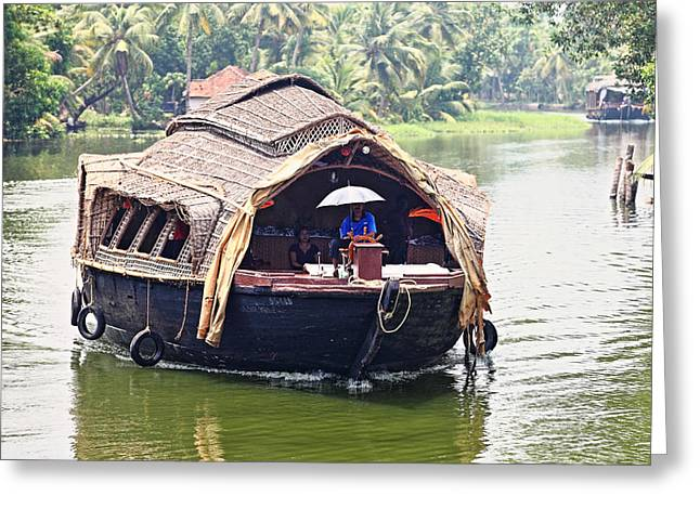 Kerala Greeting Cards - Life on the backwaters Greeting Card by Paul Cowan