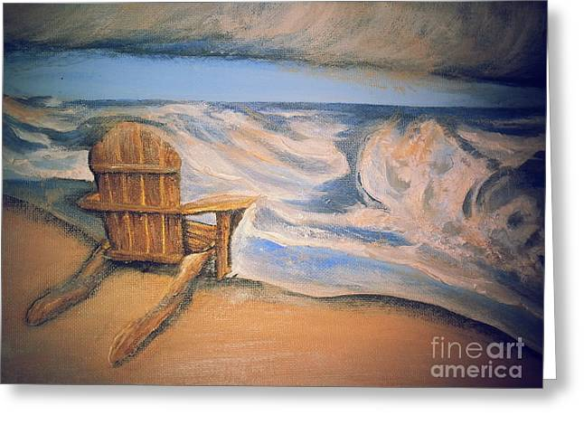 Adirondack Chairs On The Beach Greeting Cards - Life On the Beach Greeting Card by Tia Maria - Fine Artist