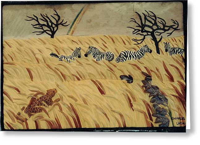 Ceramic Sculpture Ceramics Greeting Cards - Life on the Serengeti  Greeting Card by Charles Lucas