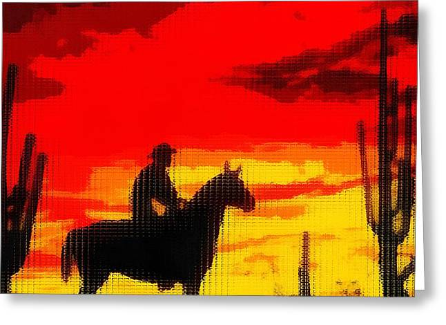 Arizona Cowboy Greeting Cards - Life Out West Cowboy At Sunset Greeting Card by Dan Sproul
