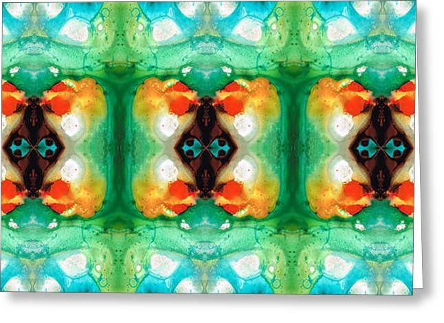 Positive Mixed Media Greeting Cards - Life Patterns 1 - Abstract Art By Sharon Cummings Greeting Card by Sharon Cummings