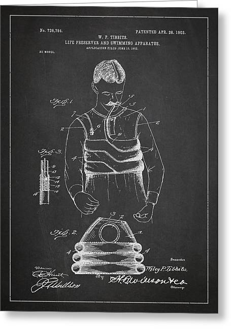 Water Sports Greeting Cards - Life Preserver and Swimming Apparatus Patent Drawing From 1903 Greeting Card by Aged Pixel