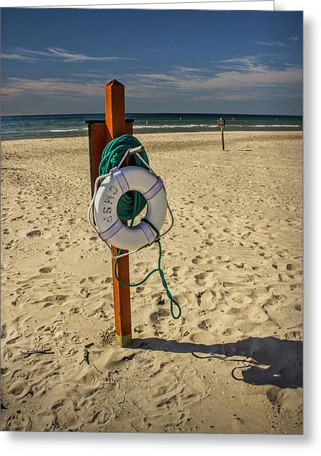 Buoyancy Greeting Cards - Life Preserver on the Beach in Pentwater Michigan Greeting Card by Randall Nyhof