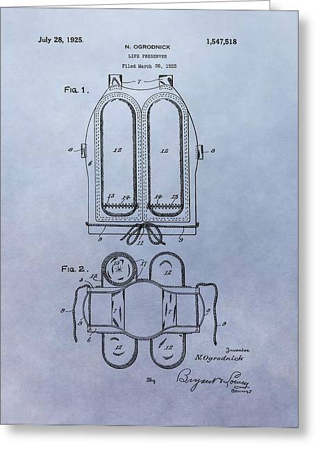 Equipment Mixed Media Greeting Cards - Life Preserver Patent Greeting Card by Dan Sproul