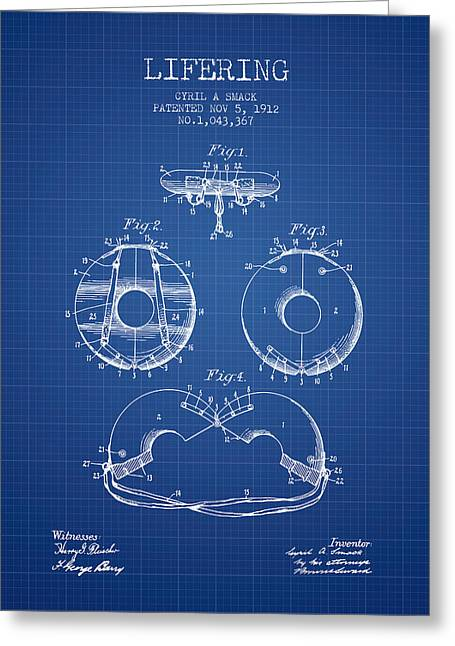 Lifebelt Greeting Cards - Life Ring Patent from 1912 - Blueprint Greeting Card by Aged Pixel