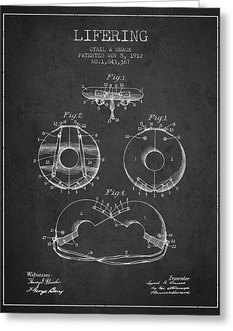 Lifebelt Greeting Cards - Life Ring Patent from 1912 - Charcoal Greeting Card by Aged Pixel