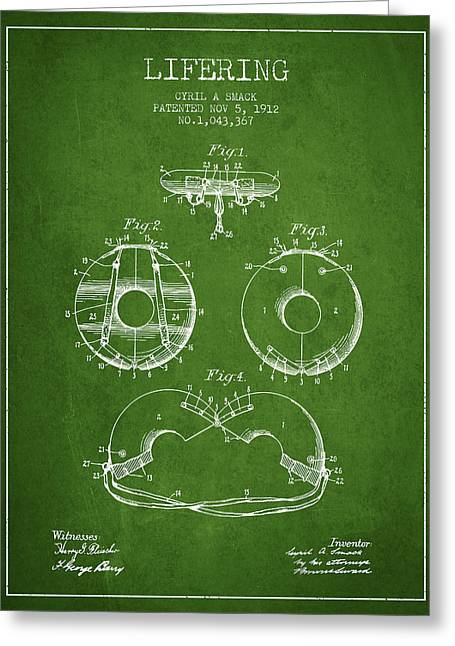 Lifesaver Greeting Cards - Life Ring Patent from 1912 - Green Greeting Card by Aged Pixel