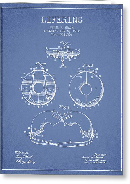 Lifesaver Greeting Cards - Life Ring Patent from 1912 - Light Blue Greeting Card by Aged Pixel
