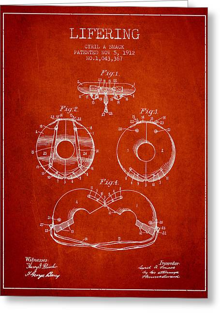 Lifebelt Greeting Cards - Life Ring Patent from 1912 - Red Greeting Card by Aged Pixel