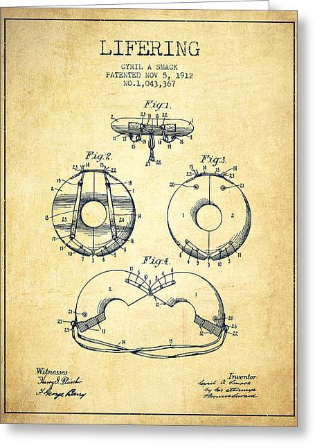 Lifebelt Greeting Cards - Life Ring Patent from 1912 - Vintage Greeting Card by Aged Pixel