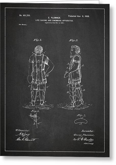 Water Sports Greeting Cards - Life Saving and Swimming Apparatus Patent Drawing From 1900 Greeting Card by Aged Pixel