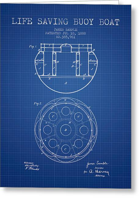 Lifesaver Greeting Cards - Life Saving Buoy Boat Patent from 1888 - Blueprint Greeting Card by Aged Pixel