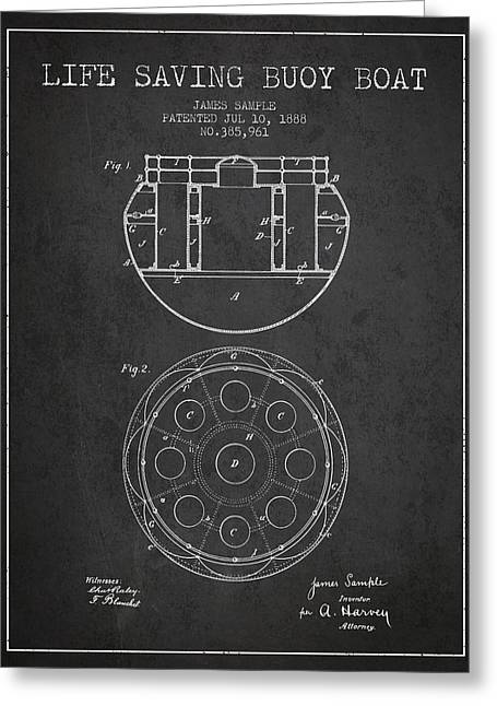 Lifebuoy Greeting Cards - Life Saving Buoy Boat Patent from 1888 - Charcoal Greeting Card by Aged Pixel